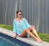 Mint & Pink Chiffon Beach Cover Up - Katydid.com