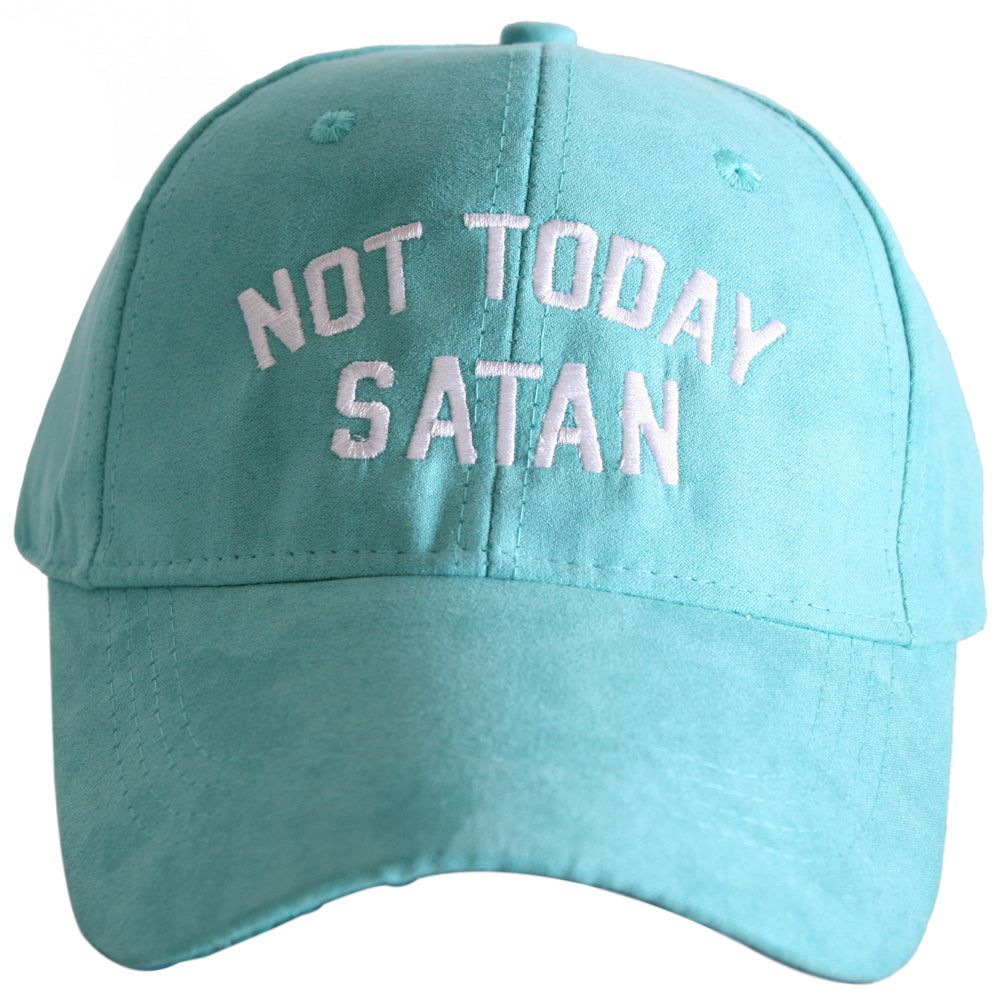 Not Today Satan ULTRA SUEDE Baseball Cap - Katydid.com