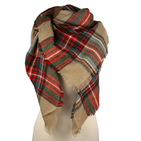Plaid Blanket Scarf Scarves (Black, Light Gray)