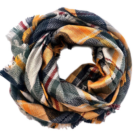 Plaid Blanket Scarf Scarves (Cream, Black, Red)