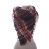 Plaid Blanket Scarf Scarves (Dk. Brown, Cream, Coral) - Katydid.com