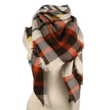 Plaid Blanket Scarf Scarves (Brown, Orange, Cream) - Katydid.com