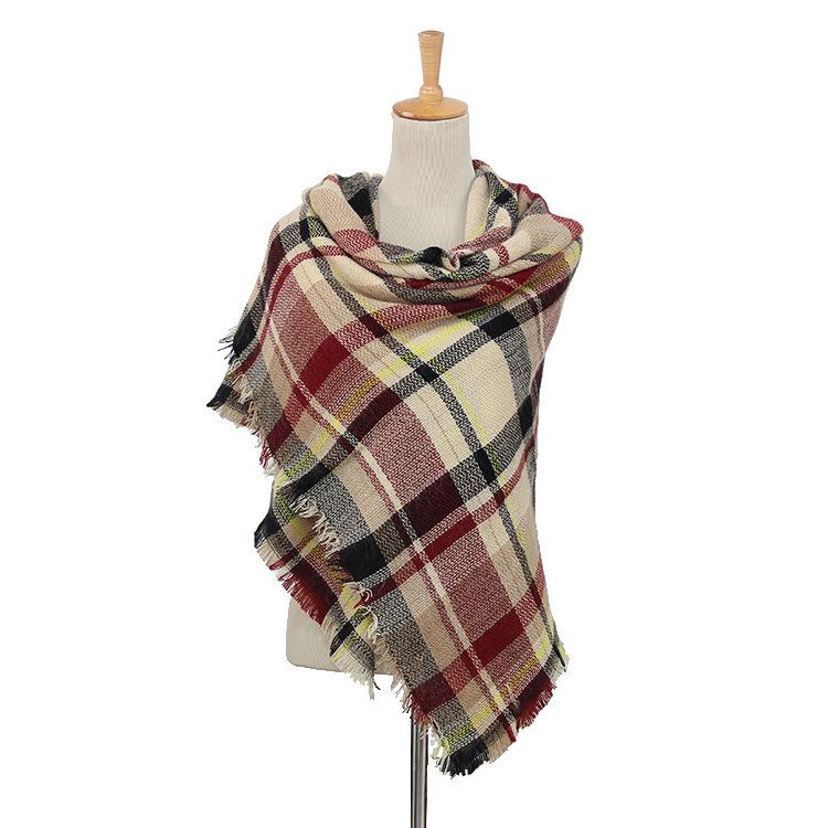Plaid Blanket Scarf Scarves (Cream, Red, Black) - Katydid.com