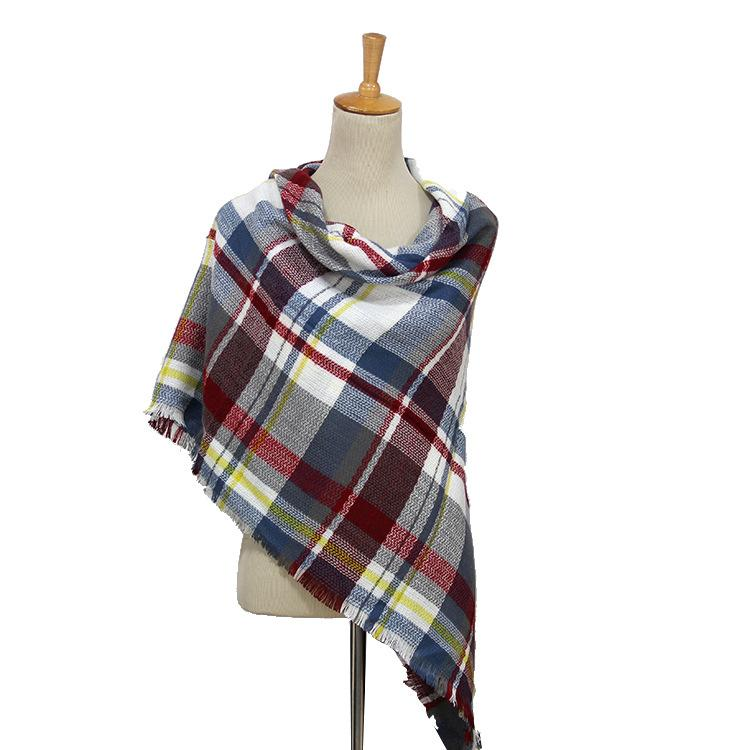Plaid Blanket Scarf Scarves (Blue, Cream, Burgandy) - Katydid.com