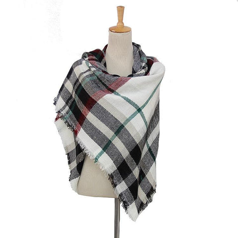 Plaid Blanket Scarf Scarves (Black, White)