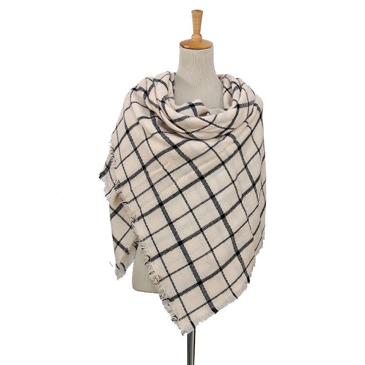Plaid Blanket Scarf Scarves (Cream, Black, White) - Katydid.com