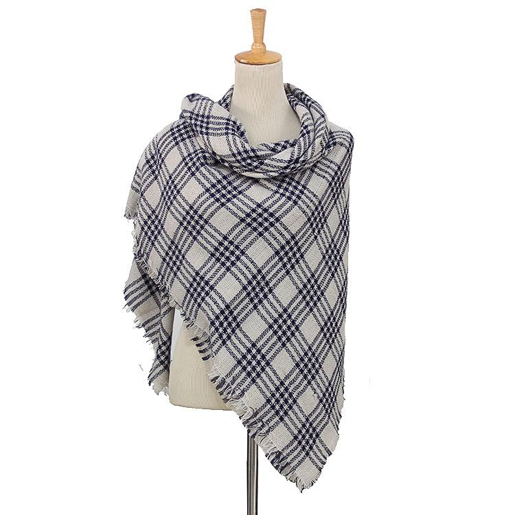 Plaid Blanket Scarf Scarves (Black, Light Gray) - Katydid.com