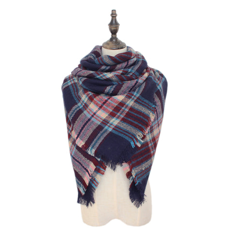 Plaid Blanket Scarf Scarves (Red, Black)
