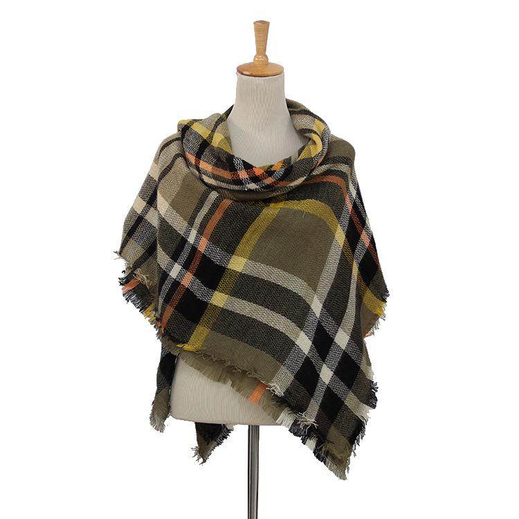 Plaid Blanket Scarf Scarves (Black, Army Green, Cream) - Katydid.com