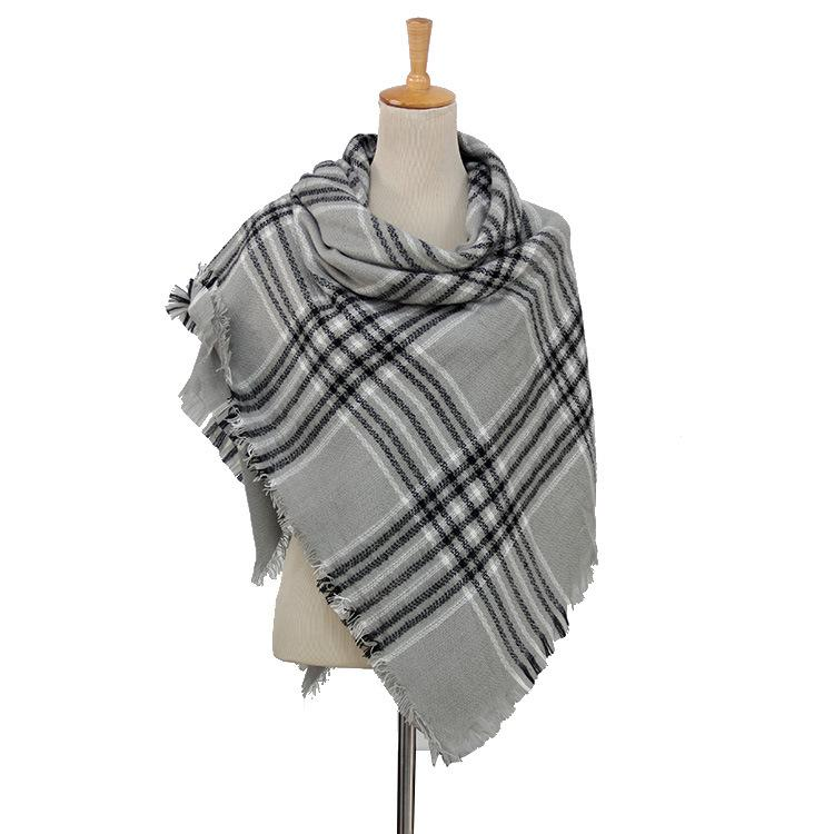 Plaid Blanket Scarf Scarves (Gray, Black, White) - Katydid.com