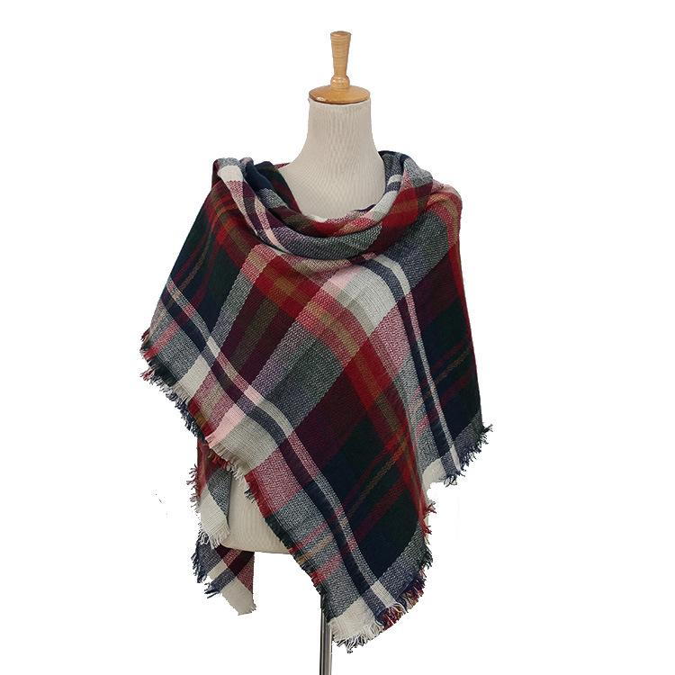 Plaid Blanket Scarf Scarves (Multicolored) - Katydid.com
