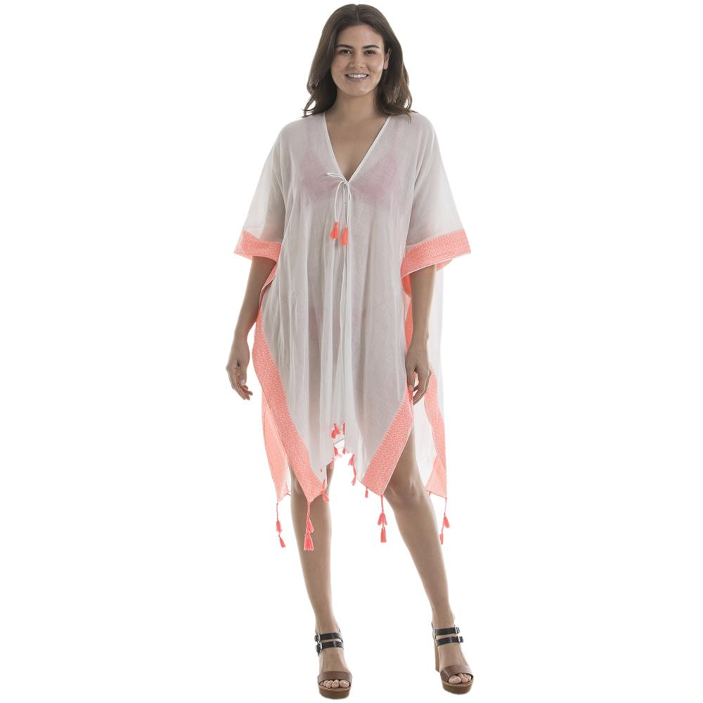 Katydid Swimsuit Cover Up for Women in White & Coral - Katydid.com