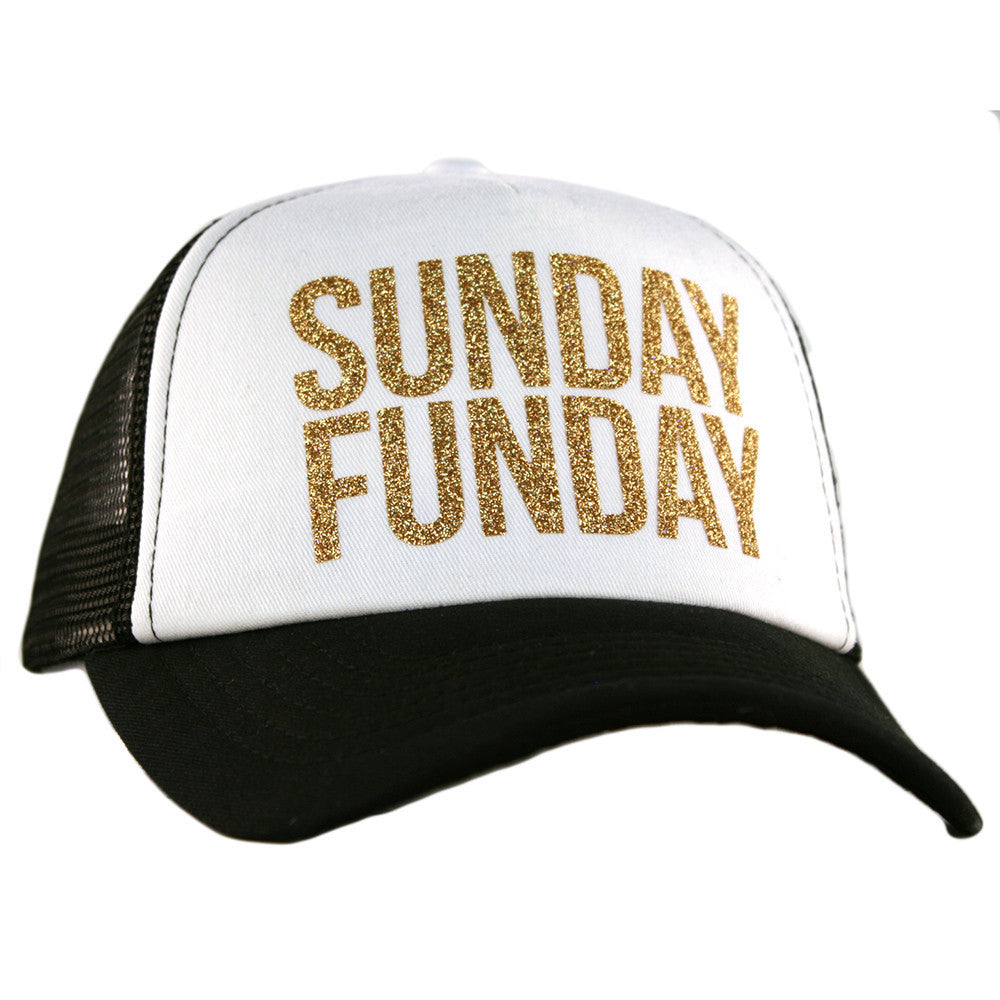 Sunday Funday White & Black Glitter Trucker Hat - Katydid.com