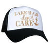 Lake Hair Don't Care White and Black Glitter Trucker Hat - Katydid.com