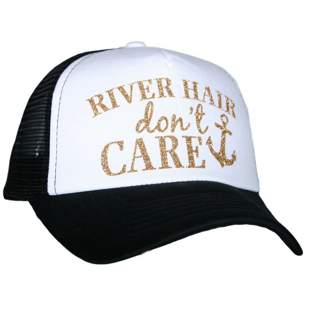 River Hair Don't Care Glitter Trucker Hat - Katydid.com