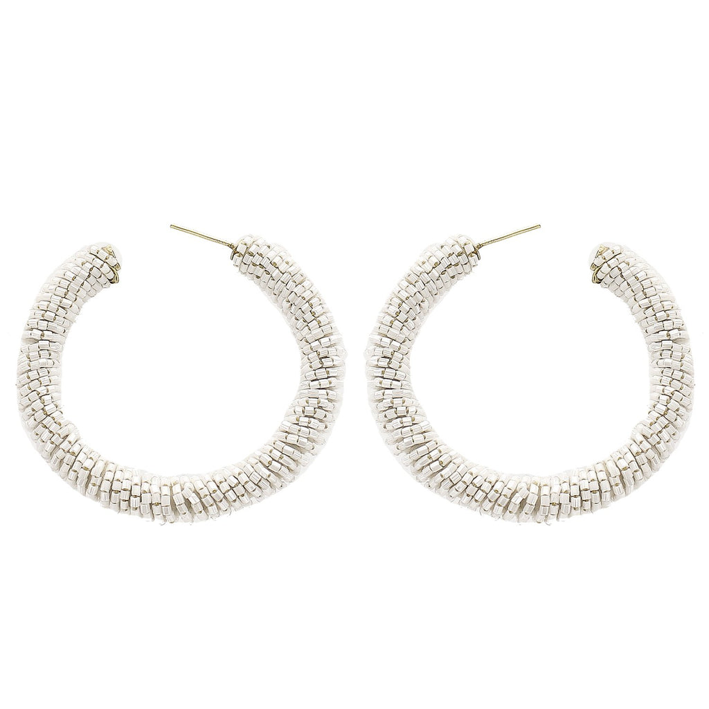 White Beaded Hoop Earrings - Katydid.com