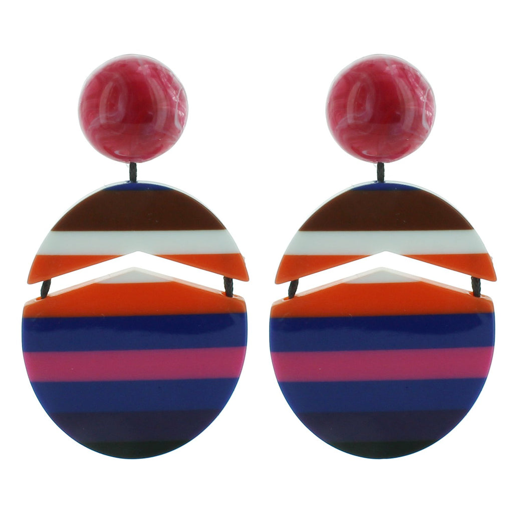 Hot Pink and Navy Multicolored Striped Drop Acrylic Earrings - Katydid.com