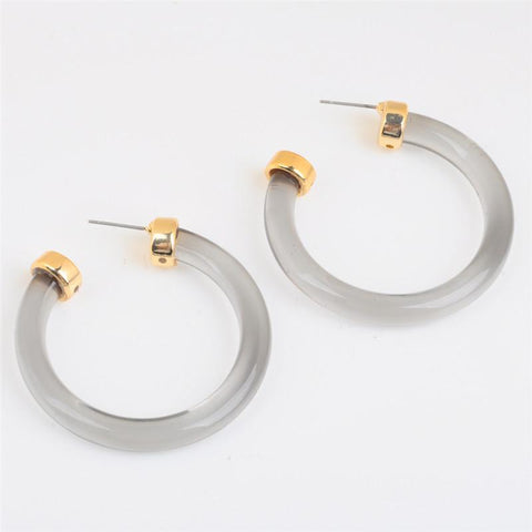 Gold Sparkle Acrylic Hoop Earrings