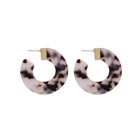 Pink Leather Circle Earrings