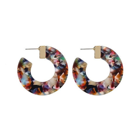 Clear 7-sided Acrylic Hoop Earrings