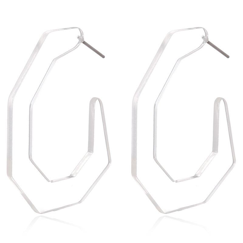 Clear 7-sided Acrylic Hoop Earrings - Katydid.com