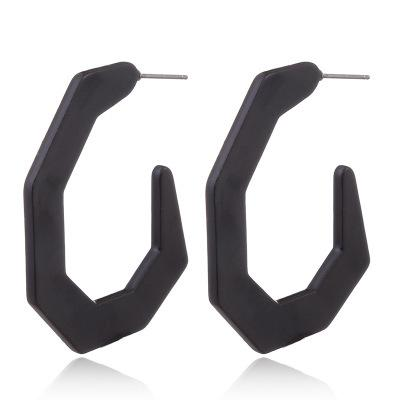 Black 7-sided Acrylic Hoop Earrings - Katydid.com