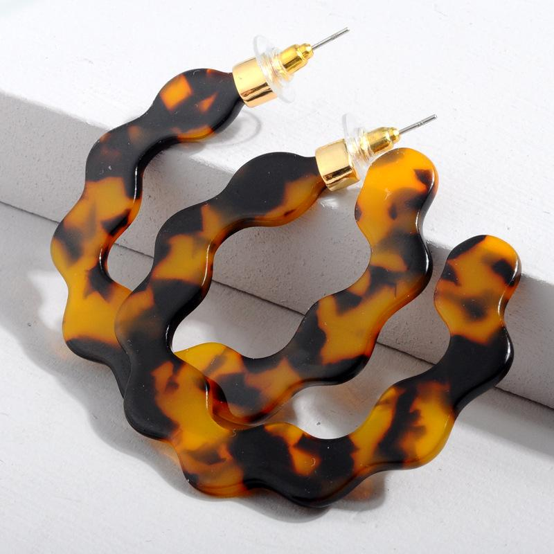 Leopard Acrylic Wave Hoop Earrings - Katydid.com