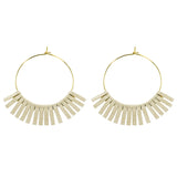 Ivory Leather Circle Earrings - Katydid.com