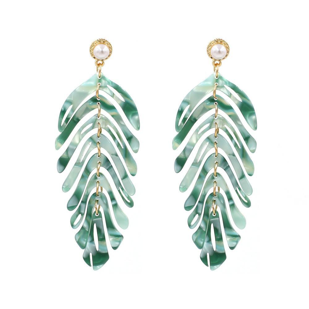 Green Acrylic Laser Cut Leaf Earrings - Katydid.com