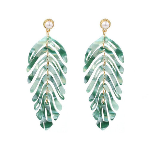 Mint Multicolored Striped Drop Acrylic Earrings