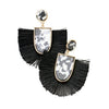 Black Tassel/Acrylic Earrings - Katydid.com