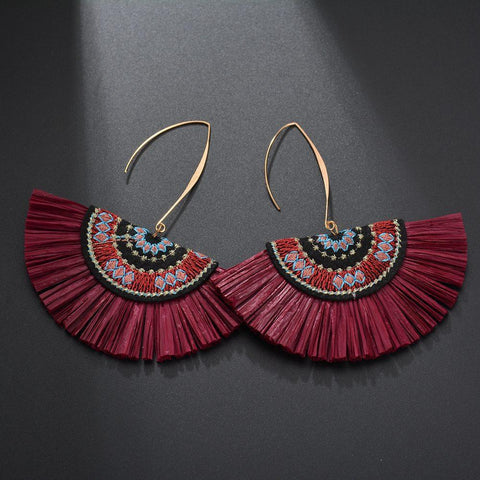 Brown Raffia Fan Earrings