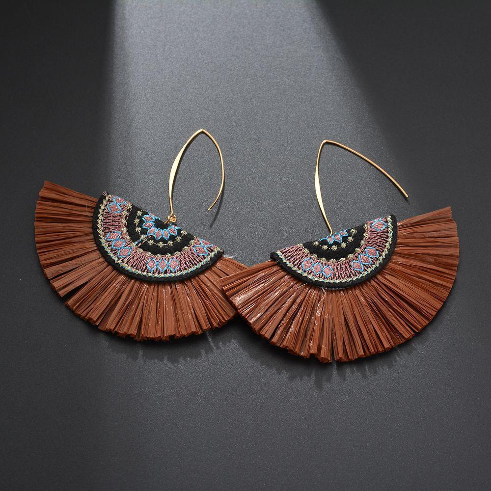 Brown Raffia Fan Earrings - Katydid.com