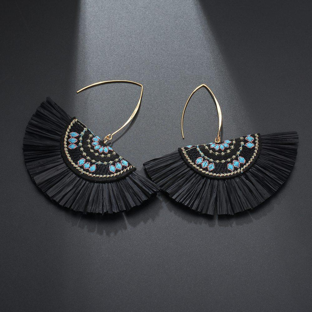 Black Raffia Fan Earrings - Katydid.com