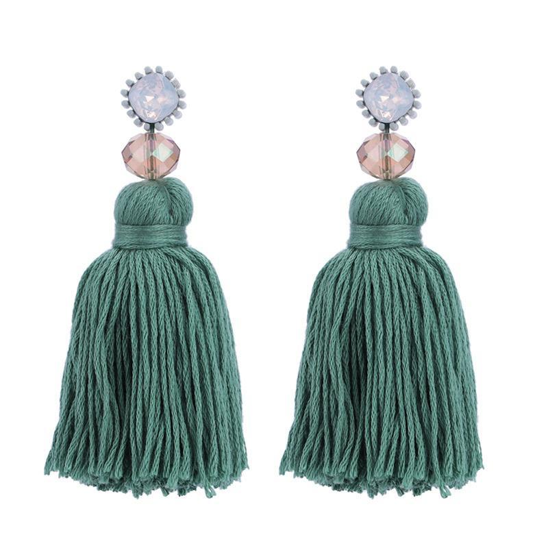 Dark Green Large Tassel Earrings - Katydid.com