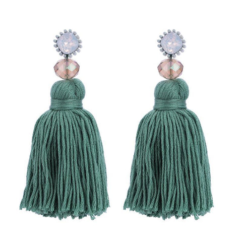 Royal Blue Tassel and Glass Bead Earrings