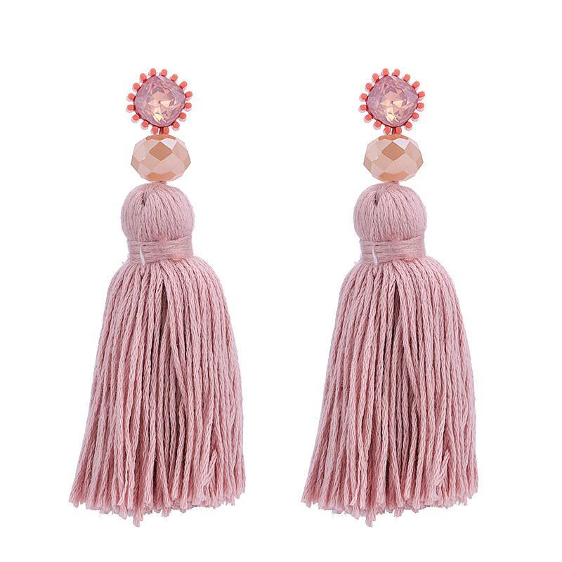 Pink Large Tassel Earrings - Katydid.com
