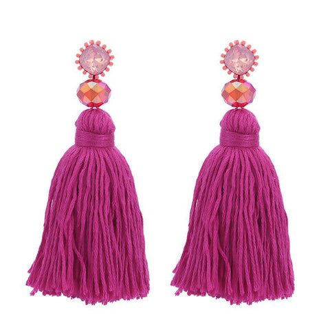 Gold Tassel and Glass Bead Earrings