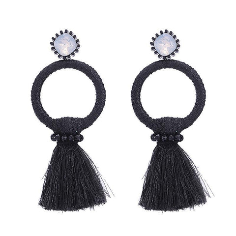 Red Tassel Circle Earrings