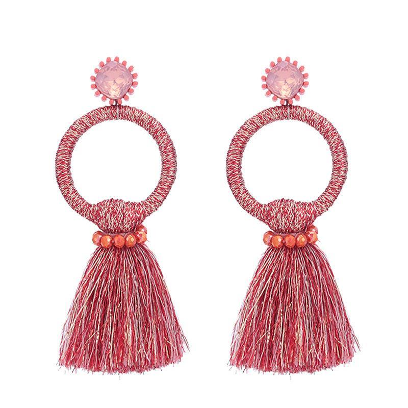 Red Tassel Circle Earrings - Katydid.com