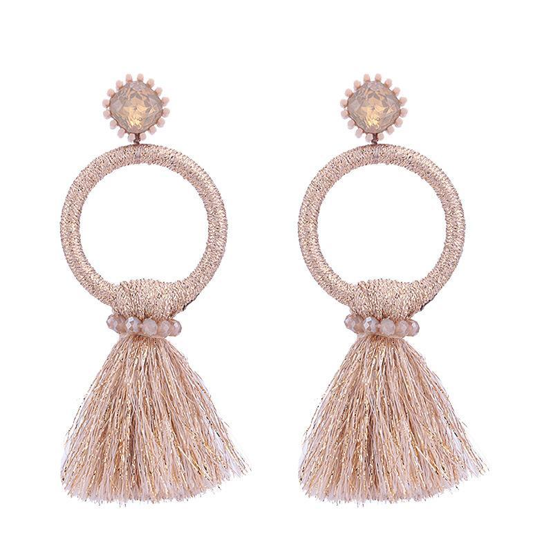Pink Tassel Circle Earrings - Katydid.com