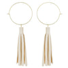 Ivory Leather Tassle Earrings - Katydid.com