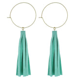 Mint Leather Tassle Earrings - Katydid.com