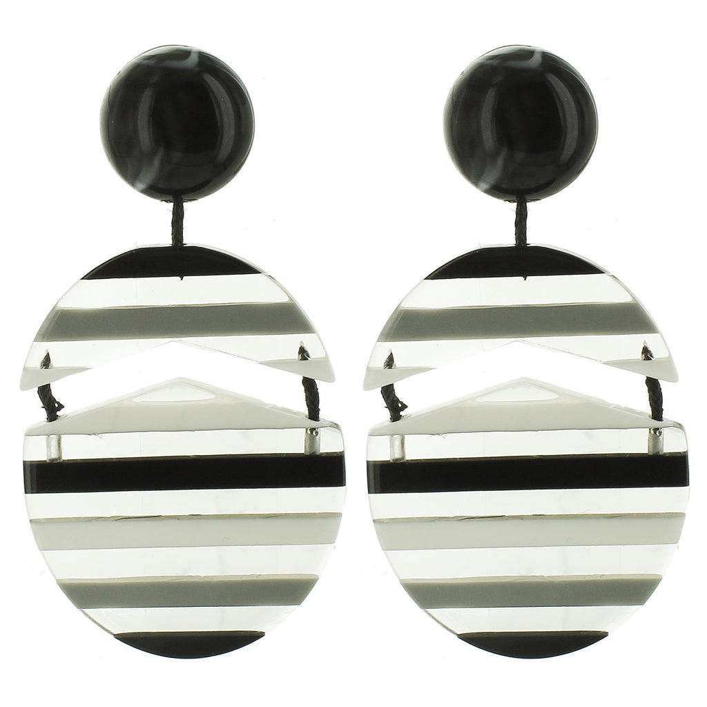 Black and White Multicolored Striped Drop Acrylic Earrings - Katydid.com
