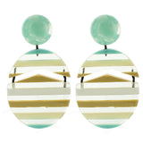 Mint Multicolored Striped Drop Acrylic Earrings - Katydid.com