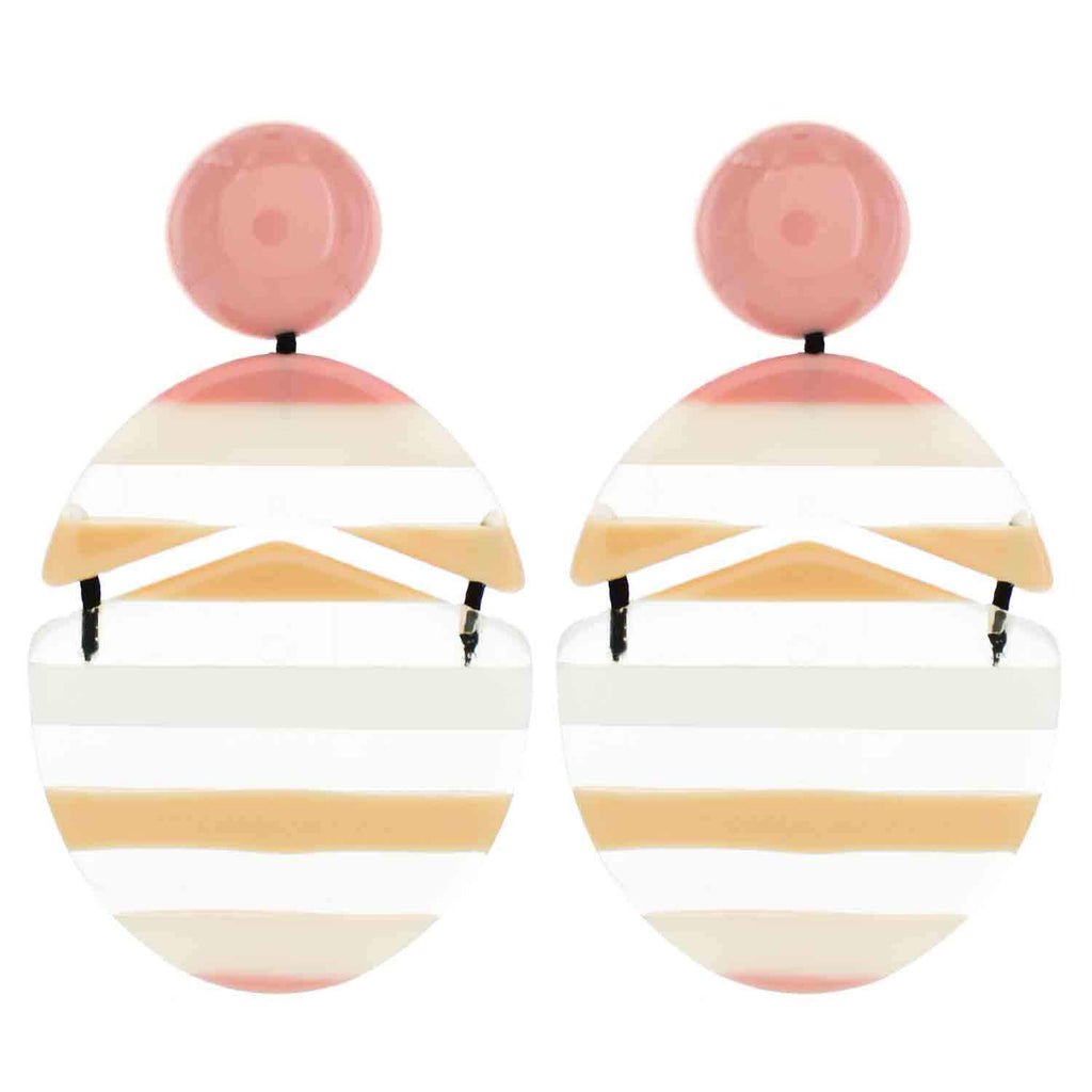 Light Pink Multicolored Striped Drop Acrylic Earrings - Katydid.com