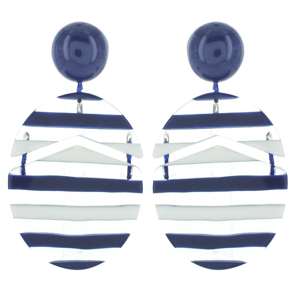 Navy Multicolored Striped Drop Acrylic Earrings - Katydid.com