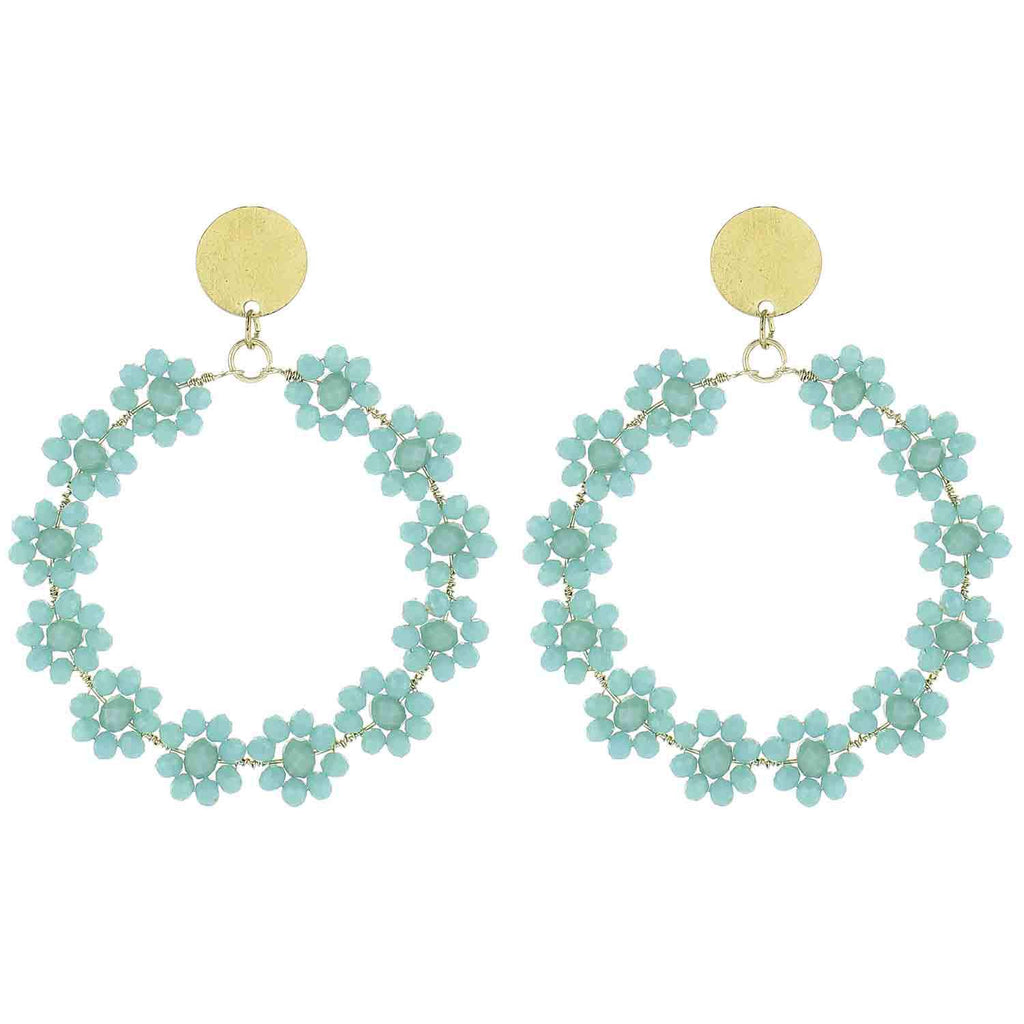 Turquoise Beaded Flower Circle Earrings