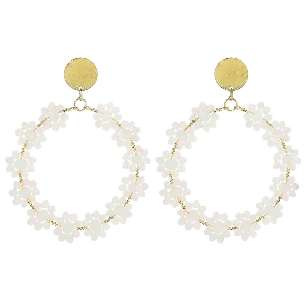 White Beaded Flower Circle Earrings