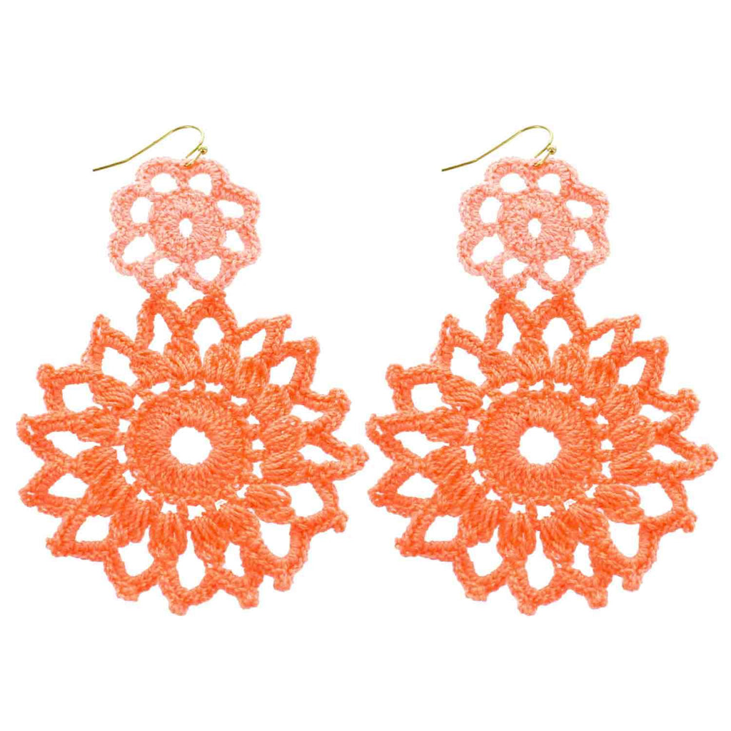 Peach Hand Crochet Double Flower Earrings